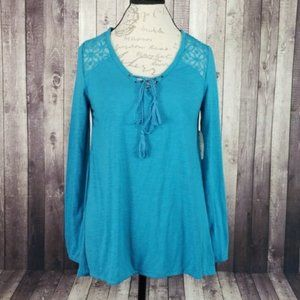 Faded Glory teal long sleeve knit lace peasant top